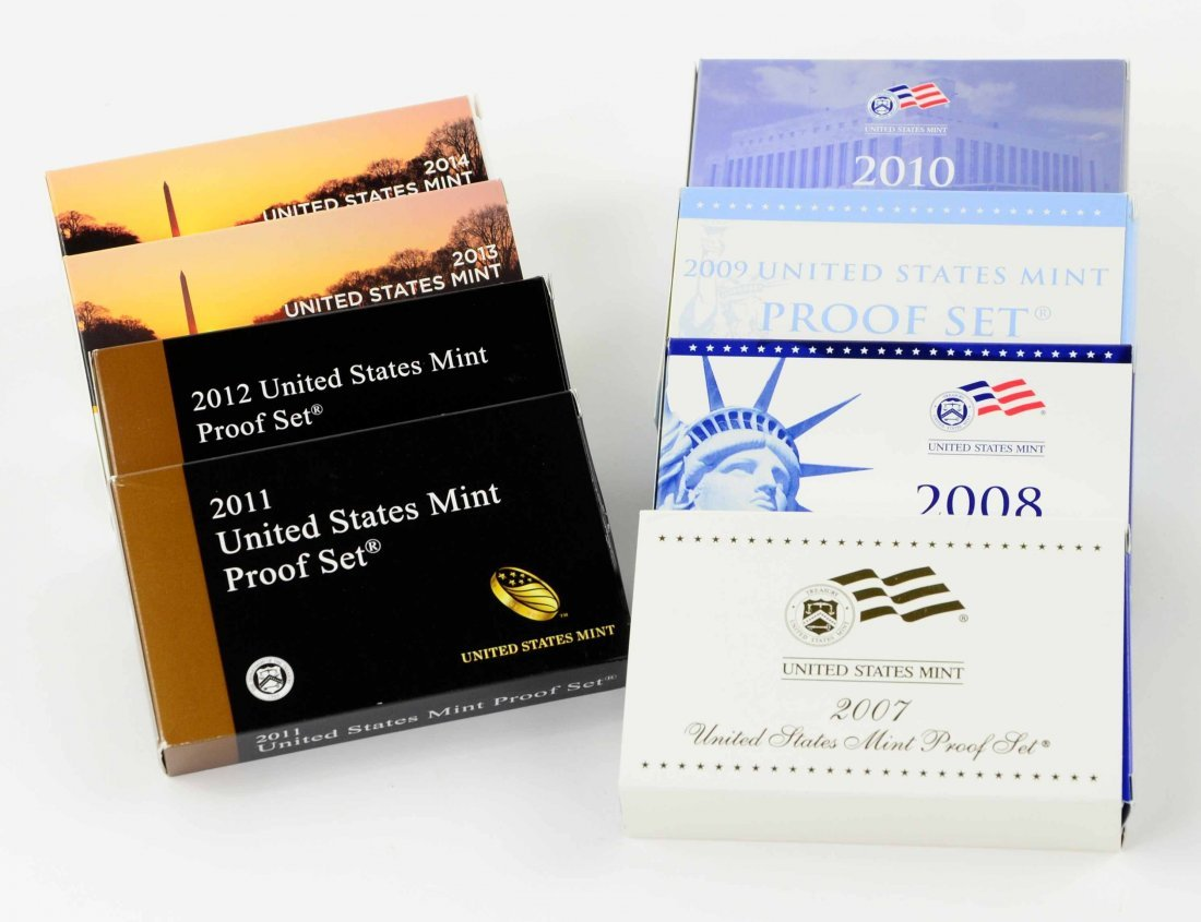 Collection of 8 United States Mint Proof Coin Sets