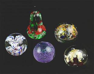 Collection of 5 Vintage Art Glass Paperweights