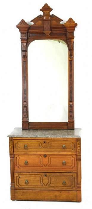 Antique Eastlake Petite Dresser / Stand w/ Wall Mirror