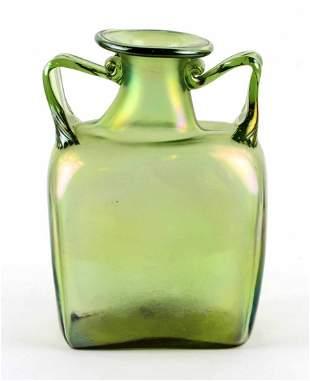 Fantastic Vintage Hand Blown Green Iridescent Art Glass