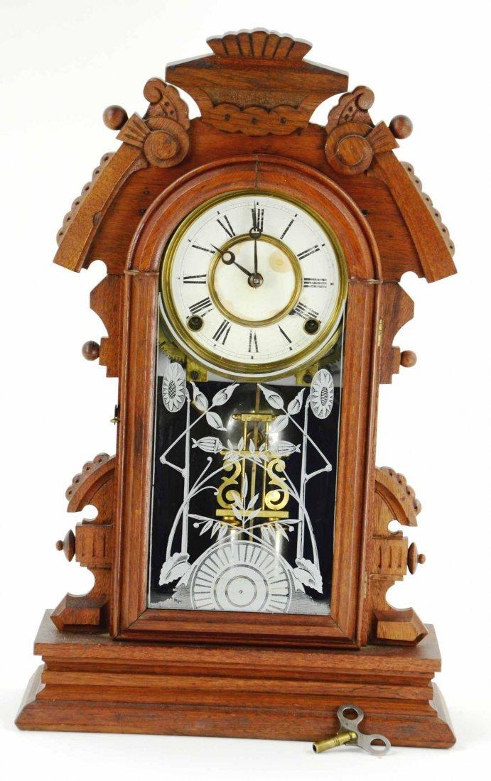 Antique Gingerbread Mantle Clock, Reverse Paint