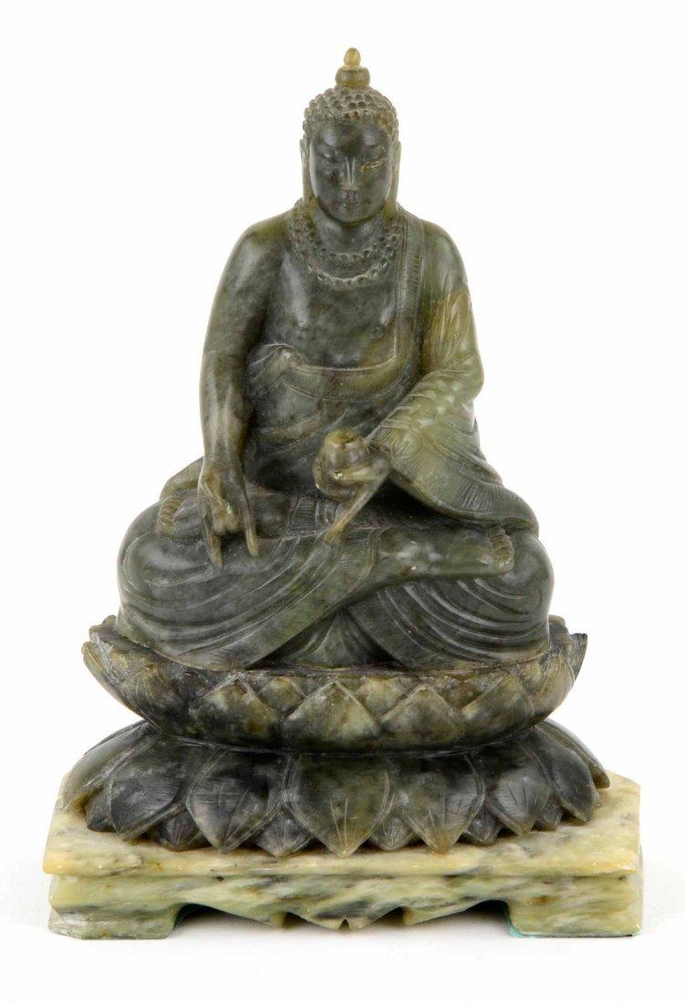 """Vintage Hand Carved Jade Hindu Buddha """"Universal Peace"""""""