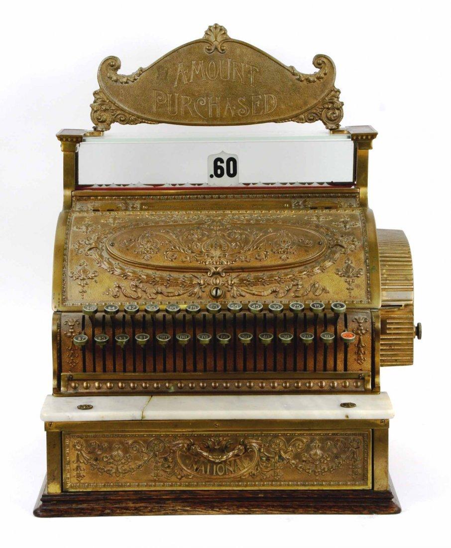 Rare Antique Brass National Cash Register, Serial S8617
