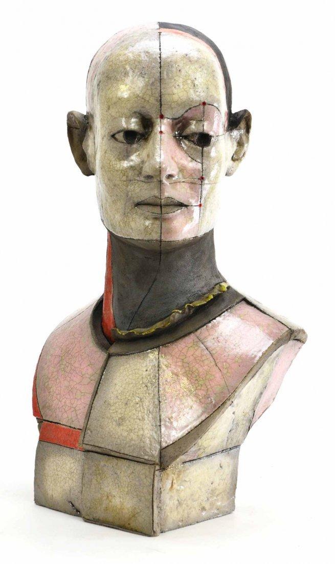 Rare Modern Figural Raku Bust by Zbigniew Chojnacki