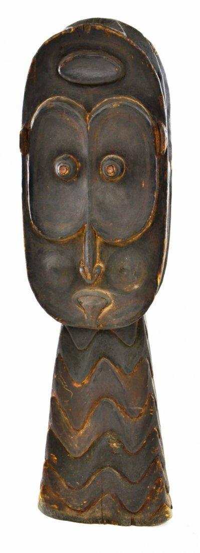 New Guinea Tribal Wood Carved Janus Head Sculpture