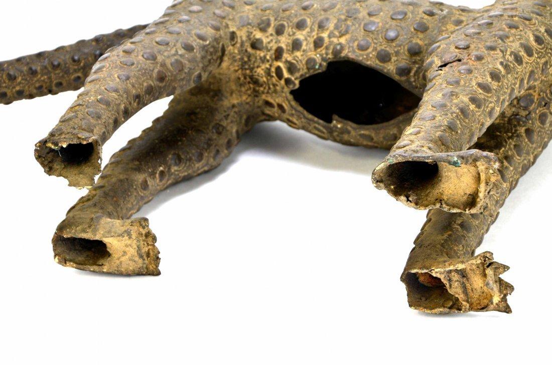 African Leopard Benin Tribal Metal Cat Sculpture - 10