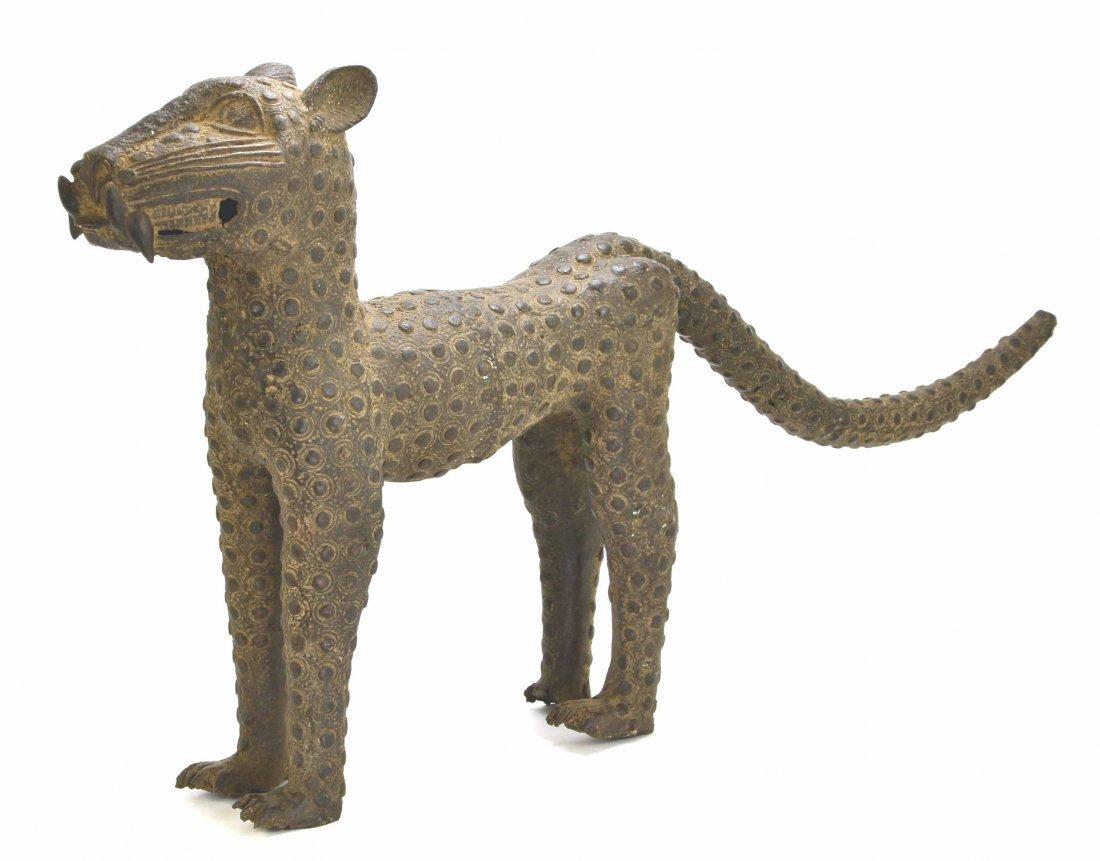 African Leopard Benin Tribal Metal Cat Sculpture