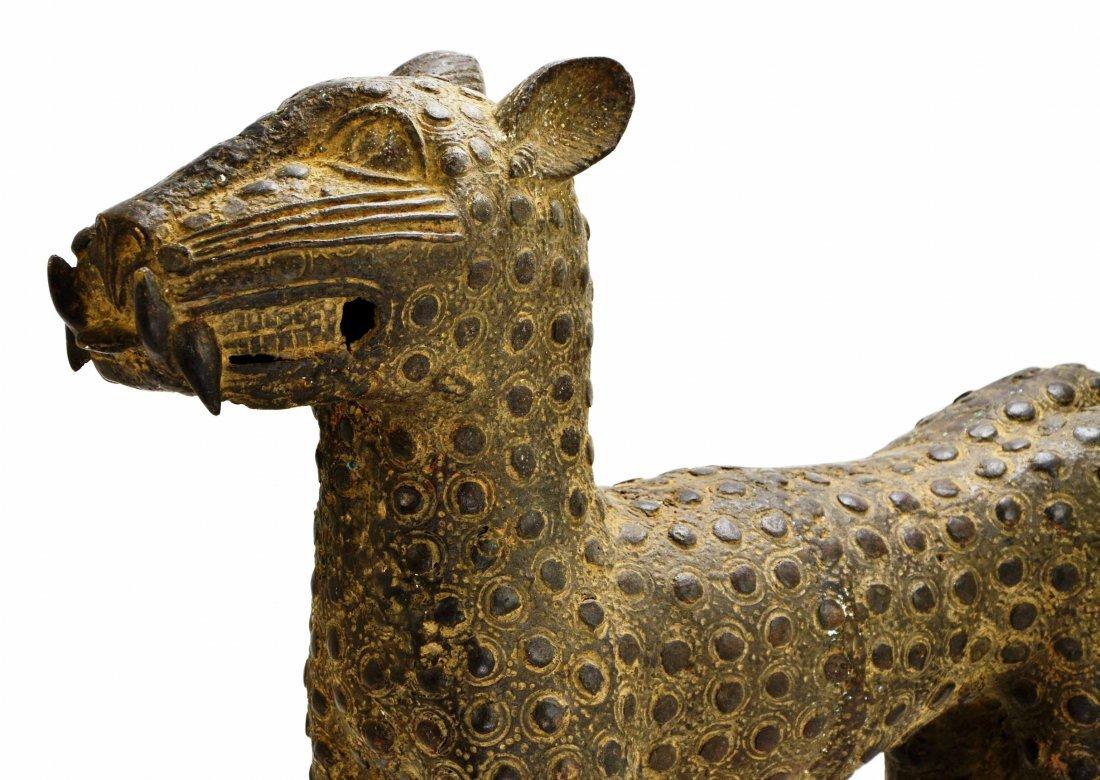 African Leopard Benin Tribal Metal Cat Sculpture - 2