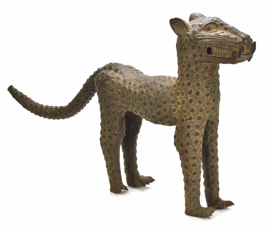 African Leopard Benin Tribal Metal Cat Sculpture - 3