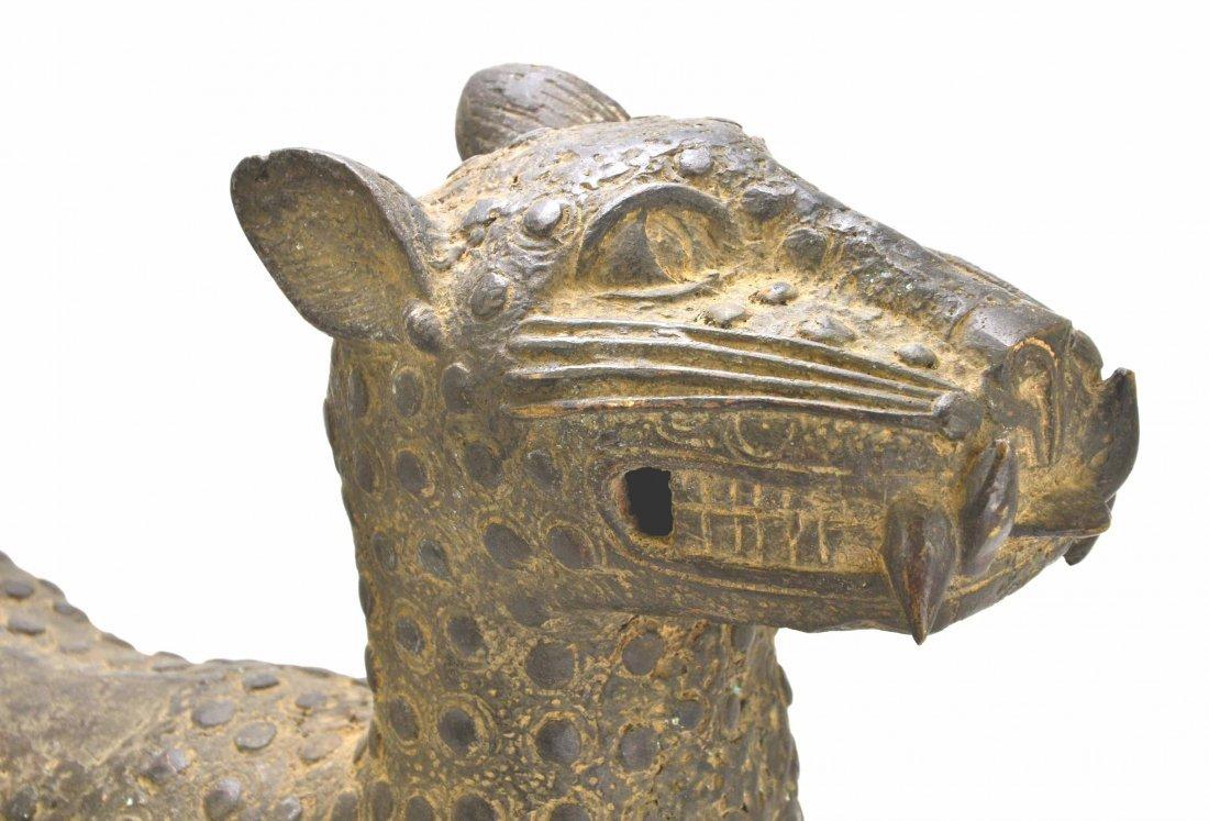 African Leopard Benin Tribal Metal Cat Sculpture - 4