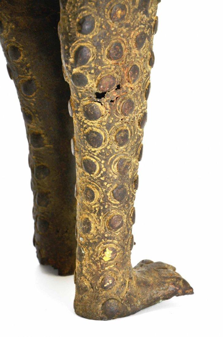 African Leopard Benin Tribal Metal Cat Sculpture - 8