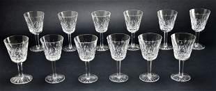 Set of 12 Waterford Stemware Crystal Lismore Glasses