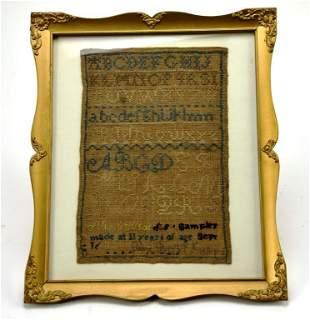 Framed Alphabet Cross Stitched Embroidery Sampler