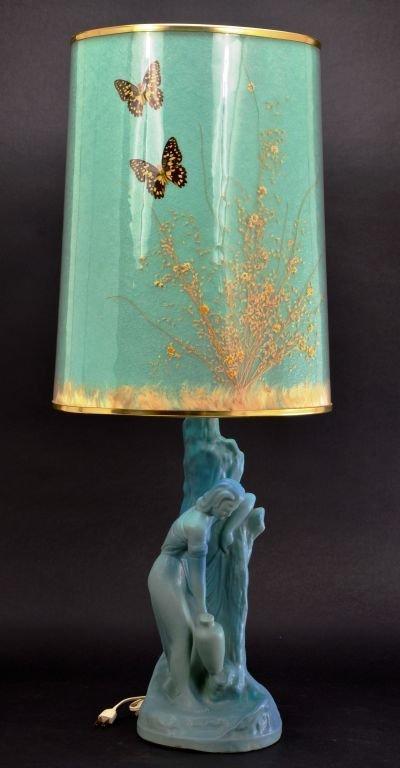 """Van Briggle Pottery """"Rebecca at Well"""" Aqua Blue Lamp"""