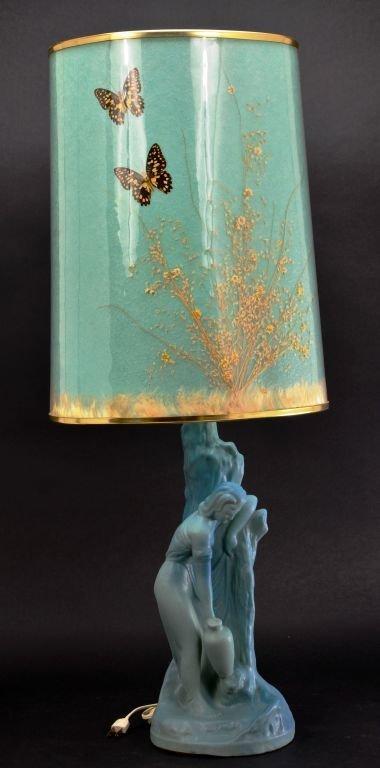 """Van Briggle Pottery """"Rebecca at Well"""" Aqua Blue Lamp - 2"""