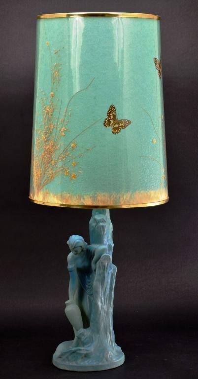 """Van Briggle Pottery """"Rebecca at Well"""" Aqua Blue Lamp - 3"""
