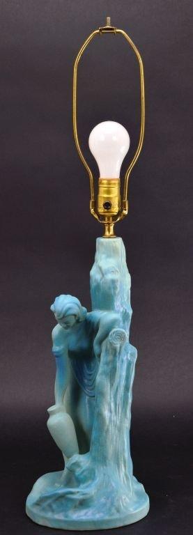 """Van Briggle Pottery """"Rebecca at Well"""" Aqua Blue Lamp - 7"""