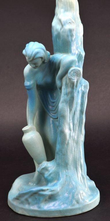 """Van Briggle Pottery """"Rebecca at Well"""" Aqua Blue Lamp - 8"""