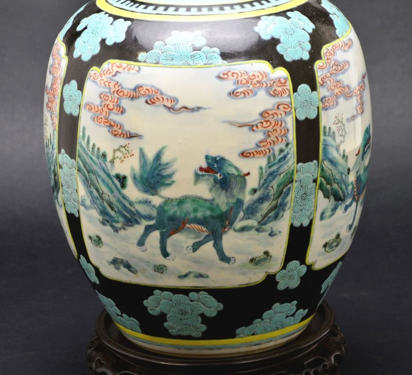 19th Cent. Chinese Famille Verte Porcelain Jar or Vase - 2