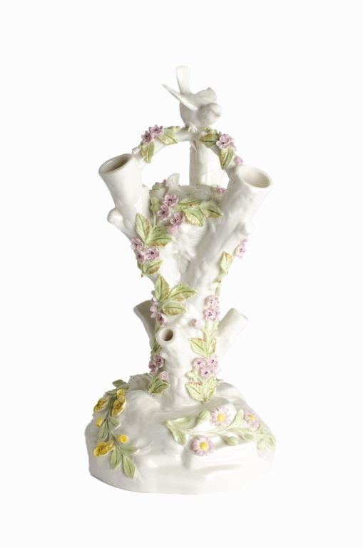 "Fine Porcelain Belleek Ireland ""Bird Stump Vase"""