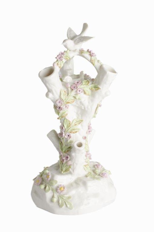 "Fine Porcelain Belleek Ireland ""Bird Stump Vase"" - 2"