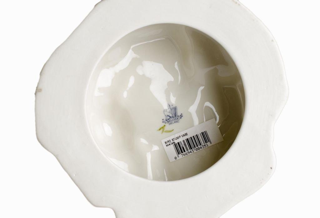 "Fine Porcelain Belleek Ireland ""Bird Stump Vase"" - 3"