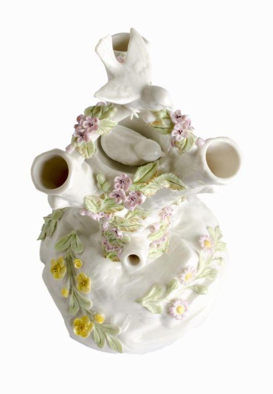 "Fine Porcelain Belleek Ireland ""Bird Stump Vase"" - 5"