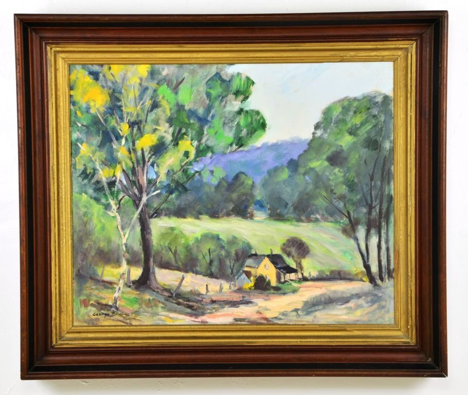 George Baum, Oil on Canvas of Countryside Landscape
