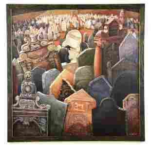 """Oil Painting """"Crowded Cemetery"""" by Artist J. Wolfe"""