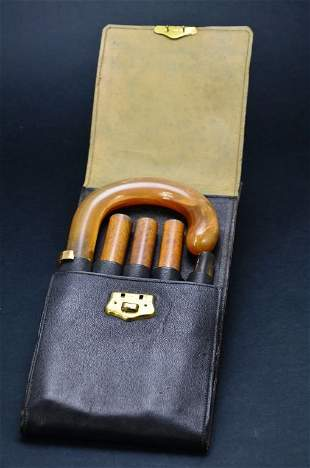 Horn Handled w 14KT Gold Cuffed Cased Walking Cane