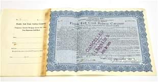 Original 1909 FEC Railway Bond - Henry Flagler