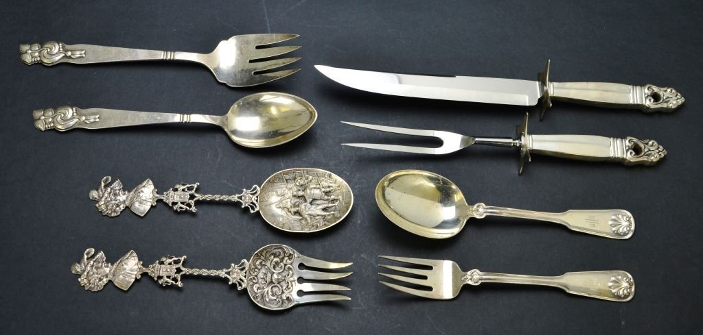 Set of 8 Sterling Utensils, Tiffany & Co., Cartier, Etc
