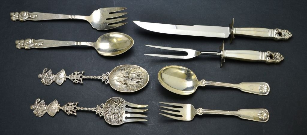 Set of 8 Sterling Utensils, Tiffany & Co., Cartier, Etc - 2