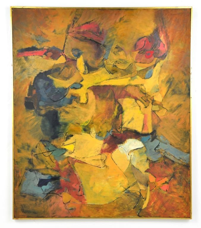 """Oi on Canvas Painting by Harry Nadler, """"GOLDEN I"""" - 2"""