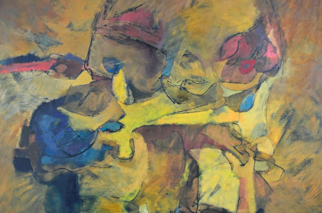 """Oi on Canvas Painting by Harry Nadler, """"GOLDEN I"""" - 4"""