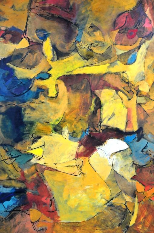 """Oi on Canvas Painting by Harry Nadler, """"GOLDEN I"""" - 5"""
