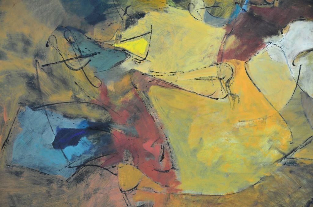 """Oi on Canvas Painting by Harry Nadler, """"GOLDEN I"""" - 7"""