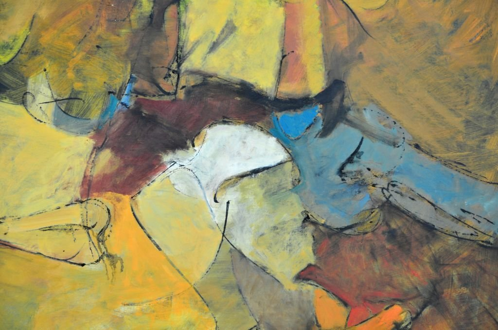 "Oi on Canvas Painting by Harry Nadler, ""GOLDEN I"" - 8"