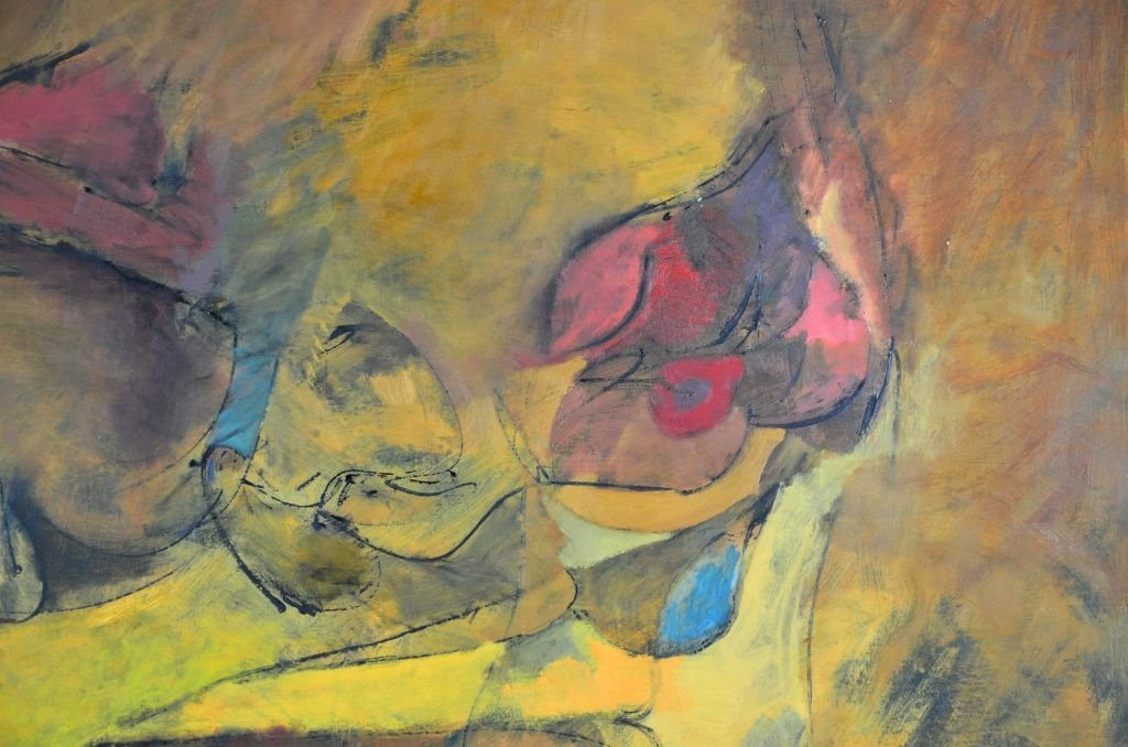 """Oi on Canvas Painting by Harry Nadler, """"GOLDEN I"""" - 9"""