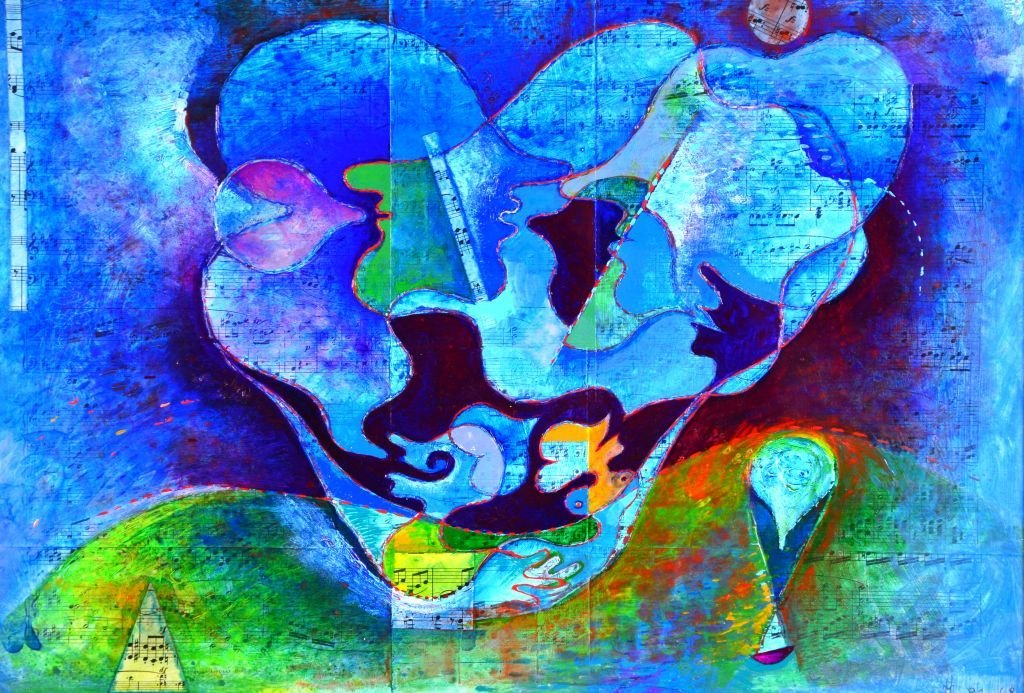 French Musical Abstract Painting by Jean Lancri - 3