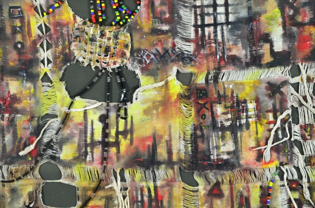 Abstract Cultural Bead & Cloth Painting by Raiky - 2