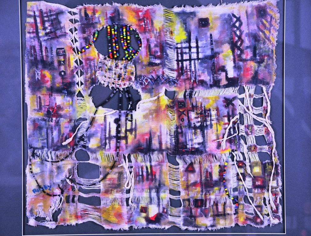 Abstract Cultural Bead & Cloth Painting by Raiky - 5