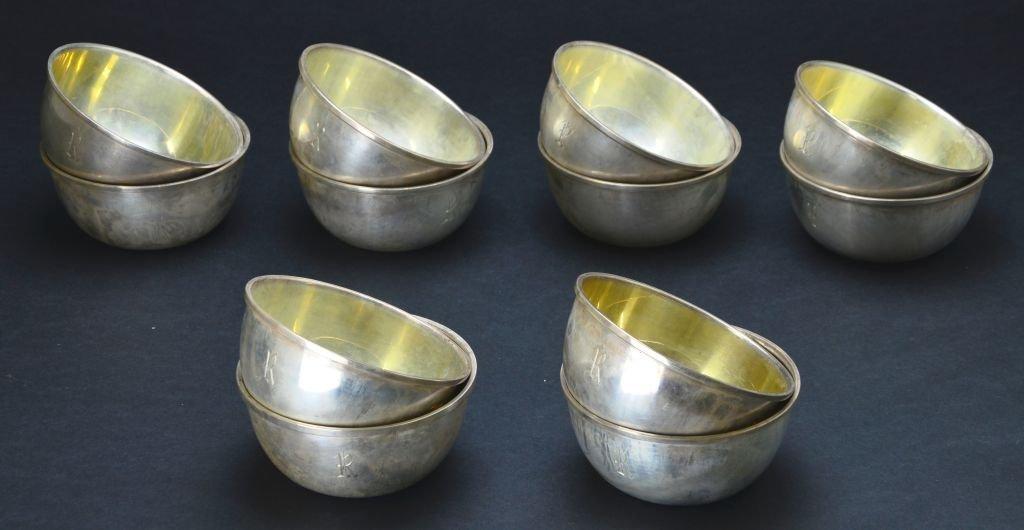 Set of 12 Vintage Sterling Silver Desert / Finger Bowls