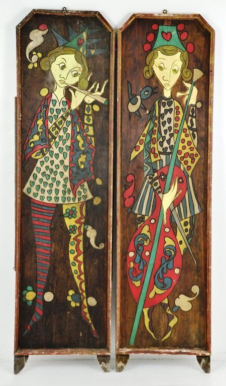 Pair of Folk Art Carved & Painted Musical Wall Plaques