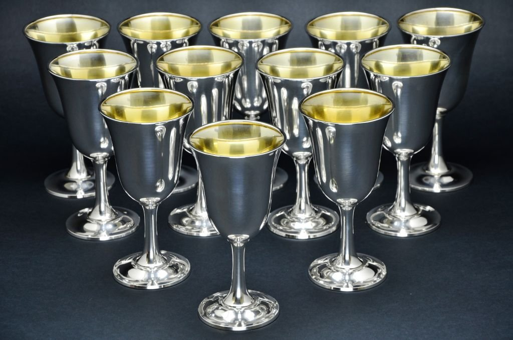 Set of 12 Wallace Sterling Silver Goblets, 57 Troy Oz