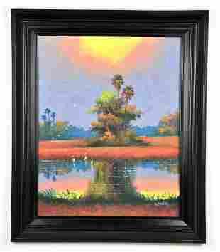 Oil on board by, Willie Daniels, Florida Landscape