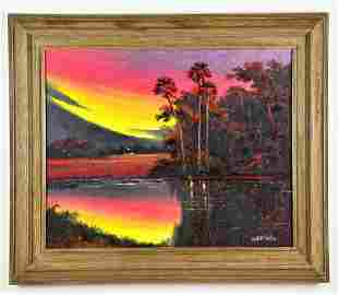 Oil on Board, by, Willie Daniels, Florida Landscape
