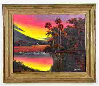 Oil on Board, by, Willie Daniels, Florida Landscape