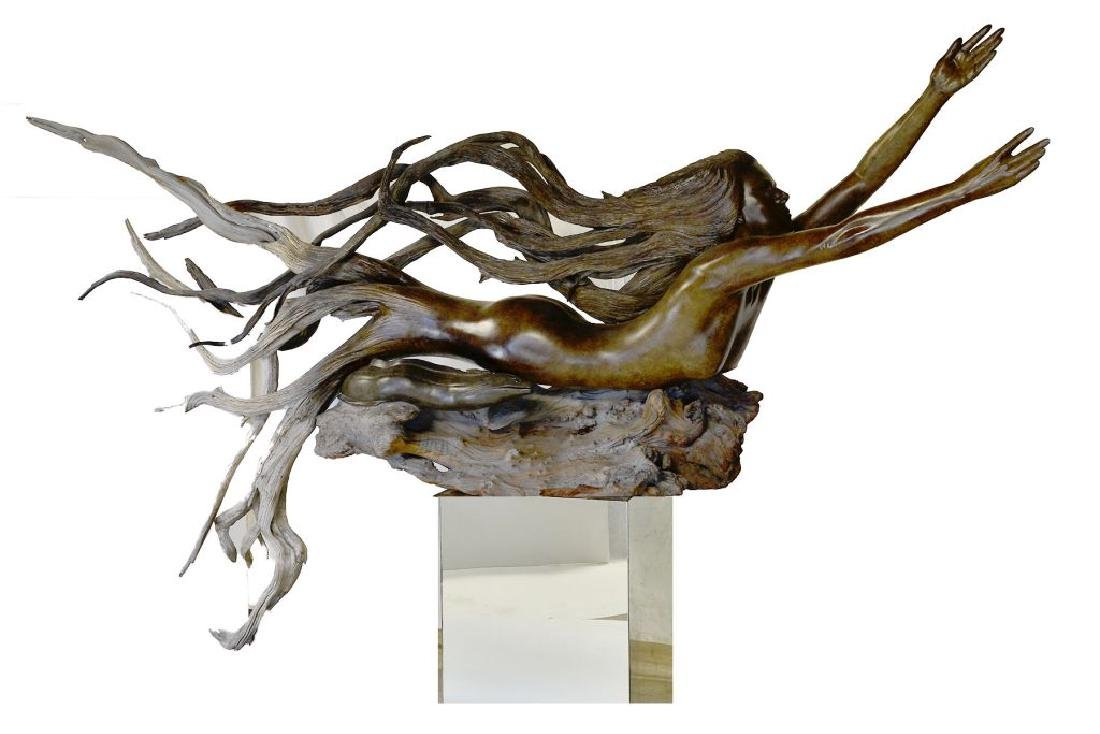 Carved Mermaid and Eel Figural Driftwood-Paul Baliker
