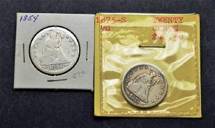 US Silver 1875 S 20 Cent & 1854 25 Cent Liberty Coins